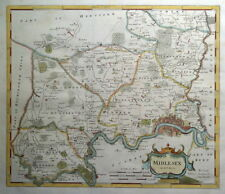 MIDDLESEX, LONDON, Robert Morden, original antique hand coloured map 1722