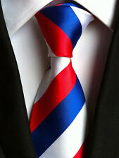 Classic Mens Silk Tie Necktie Red Blue White Stripe Woven Wedding Party Neck Tie
