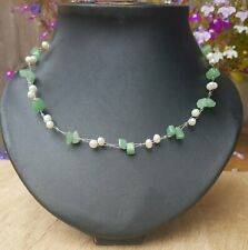 *Freedom Tree* Jade & Real Freshwater Pearl Gemstone Necklace Hand Made