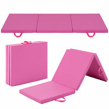 6' Exercise Tri-Fold Gym Mat For Gymnastics, Aerobics, Yoga, Martial Arts - Pink