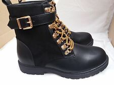 Truffle Collection Black Faux Leather/Suede Lace Up Ankle Boots Size UK 6/EU 39