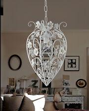 Lampadario in ferro battuto contemporaneo bianco porcellana 1 luce pre So 165/1P