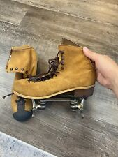 Vintage Riedell Red Wing Suede Roller Skates Plates Women's Size 7