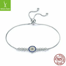 Women Luxury Blue Eyes Power Tennis Bracelets With 925 Sterling Adjustable Chain