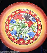 "222 FIFTH NASREEN SALAD PLATE 9 1/8"" LARGE FLOWERS YELLOW & RED BANDS DESIGN"