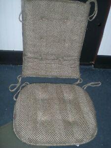 Rocking Chair Cushions Set Pad Cover Seat  Rocker Solid Natural Brown Herringbon