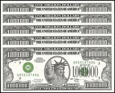 America One Million 1,000,000 Dollar Novelty Money X 5 Pieces, UNC,Play Currency