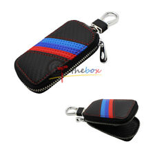 (1) M-Colored Sport Stripe Carbon Fiber Pattern Leather Key Fob Holder Cover