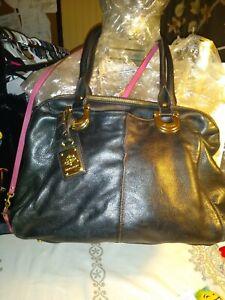 B Makowsky xLarge Black Pebble Leather Handbag Purse With Gold Hardware