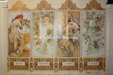 NEW Alphonse Mucha 4 Four Seasons Poster Art Nouveau Summer Autumn Winter Spring