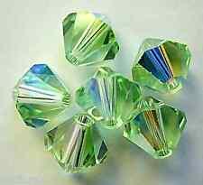 3 8 mm Swarovski 5301 Crystal Bicones -- Chrisolite AB