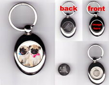 FAWN PUG PUPPIES TROLLEY COIN TOKEN KEYRING - DOG ANIMAL PET LOVER GIFT