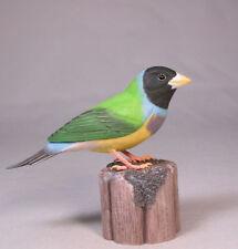 Gouldian Finches Black-head Orig Bird Carving/Birdhug