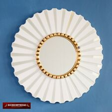 "Round White Wall Mirror 19.7"", Peruvian White Accent Round Mirror for wall decor"
