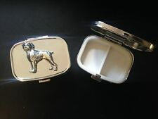 Boxer Dog D8 English Pewter Emblem on a Rectangular Travel Metal Pill Box