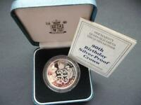 1990 SILVER PROOF CROWN £5 COIN THE QUEEN MOTHERS 90TH BIRTHDAY CASED WITH COA.