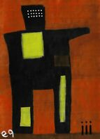 e9Art 5x7 Abstract Figurative Outsider Folk Art Brut Painting Contemporary Naive