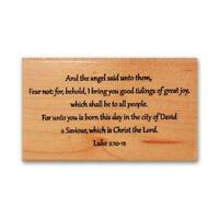 LUKE 2:10-11 mounted rubber stamp, religious Christmas, KJV bible verse #24