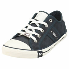 Mustang Womens Black Washed Denim Canvas Lace Up Plimsolls Trainers