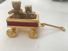 Rare Vintage Estee Lauder RED TOY WAGON PLEASURES Solid perfume Compact abc bear