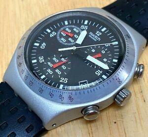 Swatch Swiss Irony Aluminum Men Analog Quartz Chrono Watch Hour~Date~New Battery
