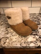 UGG Kids Girls Chestnut Ellee Shearling Cuff Boot Size US 4 Big Kids EUC