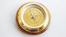 "Marine Antique Golden Brass-table-compass-5"" wooden Base Decorative Item"
