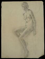 Dessin académique G. Banabéra 1900 Nu féminin atelier étude fusain