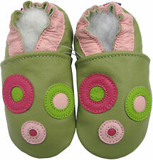 carozoo circle green 3-4y soft sole leather baby shoes