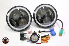 """Land Rover 7"""" LED Headlights x2 50W E Marked DRL Halo Indicator +FREE LED 750AB"""