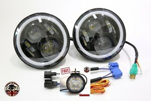 """PAIR 7"""" LED BLACK HALO HEADLIGHTS E MARKED RHD 110 90 FOR LAND ROVER DEFENDER"""