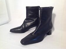 Stuart Weitzman Leather Black Ankle Boots Sz 8.5 AA Shoes Made In Spain Back Zip