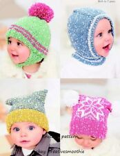 (83) Knitting Pattern for Boys Girls Hats, 4 designs, Birth-7yrs