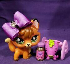 Authentic Littlest Pet Shop #807 Fox Orange Brown Yellow Green Starburst Eyes