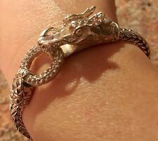 Auth John Hardy Bracelet Naga Dragon White Pave Sapphire Sterling Silver ,Pouch