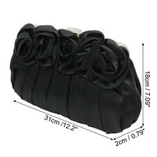 New Women Floral Design Satin Flap Wedding Clutch Purse Evening Prom Bag Handbag