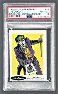 "1978 DC Super Heroes Stickers Sunbeam Bread ""The Joker"" #15 PSA 8 #43478610"