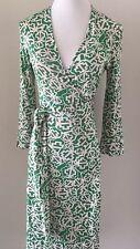 Diane Von Furstenberg Green Silk Wrap Dress, Size 4