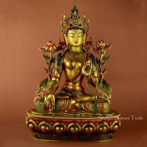 """High Quality Hand Carved 18"""" White Tara 24 K Gold Gilded Copper Statue Frm Patan"""