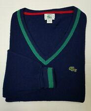 Vintage 80's Men's Izod Lacoste V-Neck Long Sleeve Sweater Navy/Green Size LT