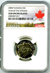 2005 P CANADA 25 CENT NGC GEM UNC YEAR OF THE VETERAN QUARTER CERTIFIED
