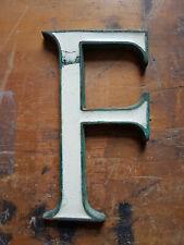 """Vintage bronze & white enamel 5"""" shop sign letter F"""
