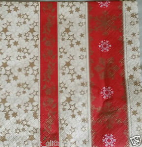 4 x  PAPER NAPKINS RED GOLDEN STAR STRIPED for TABLE, DECOUPAGE & CRAFTING