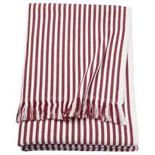 IKEA TUVALIE Plaid Tagesdecke Fleecedecke Decke gestreift weiß, rotbraun NEU