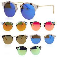 SA106 Marble Half Horned Rim Retro Fashion Round Color Mirrored Lens Sunglasses