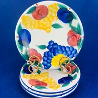 "Dansk TUSCANY COLLECTION Red Blue Yellow Fruit Salad Lunch 9.5"" Plates Set 4"