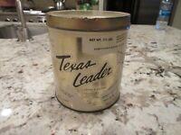 Vintage 1950s TEXAS LEADER GRAPHIC COFFEE TIN 1 1/2 POUNDS DALLAS HOUSTON TEXAS