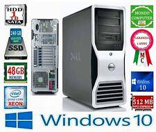 COMPUTER DELL T7500 CPU INTEL XEON QUAD CORE E5630 48 GB RAM SSD 240 WINDOWS 10