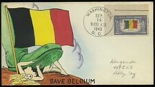 "US, #914 - RARE HANDPAINTED NUDE WEIGAND First Day Cover CACHET ""Save Belgium"""