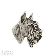 Schnauzer cropped head, silver covered pin, high quality Art Dog USA